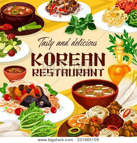 Food Of Korean Restaurant, National Meals Of Korea Cuisine. Vector Spicy Kimchi Soup And Dish With B