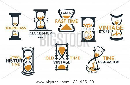 Hourglass Store, Clock Shop Isolated Icons. Vector Fast Delivery And Time History Generation, Vintag