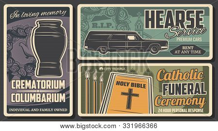 Crematorium Columbarium, Hearse Service And Retro Catholic Funeral Ceremony. Vector Holy Bible And C