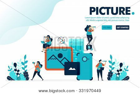 Vector Illustration Mobile Picture. People Take Picture And Images With Mobile Camera. Share Images