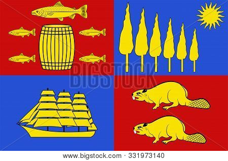 Flag Of Saint John Is A Port City On The Bay Of Fundy In The Canadian Province Of New Brunswick. Vec