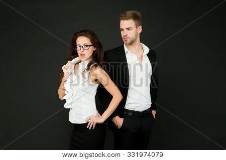 Harmless Flirtation. Sexy Girl Engage In Flirtation With Businessman. Sensual Woman Enjoy Flirtation