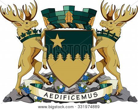 Coat Of Arms Of Greater Sudbury, Commonly Referred To As Sudbury, Is A City In Ontario, Canada. Vect