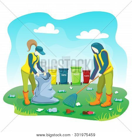 Volunteers Picking Up Trash, Plastic Bottles And Cleaning Garbage On Lawn Of City Park With Bag And