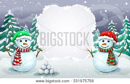 Christmas Snowy Scene With Couple Of Greeting Snowmen In Santa Hats. Christmas Card Template Or Holi