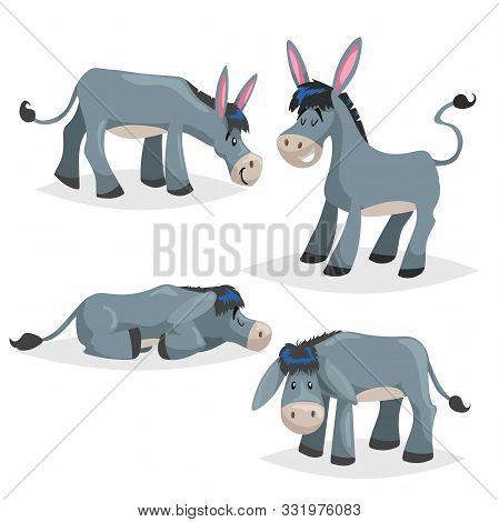 Cute Cartoon Donkeys Set. Simple Gradient Farm Animals Collection. Vector Illustrations Isolated On