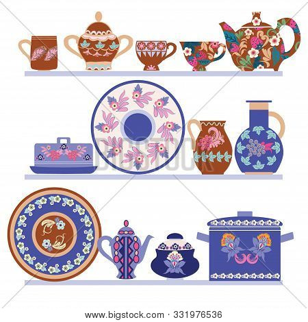 Vector Hand Drawn Collection Handmade Ceramics Elements On Shelves. Decorative Beautiful Tableware I