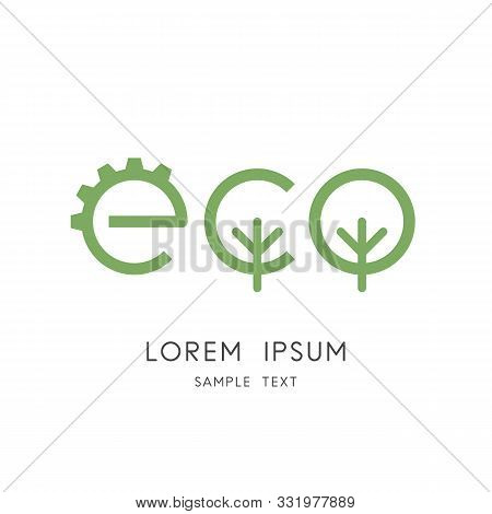Green Eco Logo - Gear Wheel And Tree Or Forest Symbol. Environment Conservation And Ecology, Industr