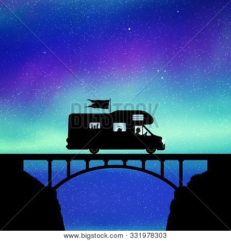 Retro Car On Bridge At Night. Vector Illustration With Silhouette Of Man Traveling In Camper. Solo R