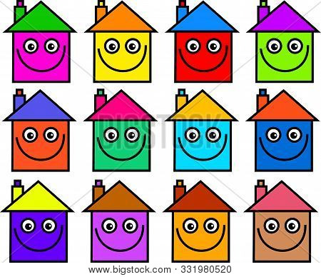 A Community Of Colourful Cartoon Houses With Happy Faces.