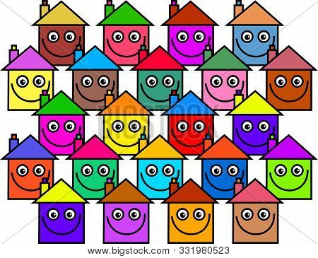 A Colourful Community Of Houses With Happy Smiling Faces.