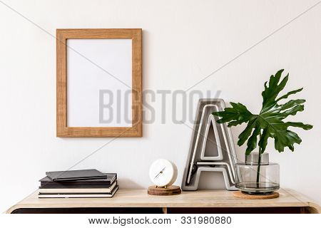 Modern Home Interior Design With Mock Up Photo Frame, Wooden Commode, Book, Tropical Leaf, Big Lette