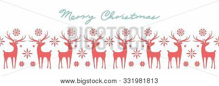Beautiful Seamless Pattern With Deer And Snowflakes. Winter Banner Background For Christmas Or New Y
