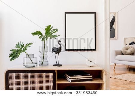 Modern Scandinavian Home Interior With Mock Up Photo Frame, Design Wooden Commode, Black Sculpture,