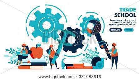 Vector Illustration Of People Learning To Repair Machines. Trade School Or Vocational. University Or