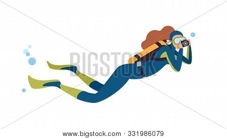 Swimming Scuba Diver Flat Vector Illustration. Female Diver With Camera Cartoon Character. Woman Tak