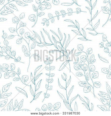 Eucalyptus Twigs Hand Drawn Seamless Pattern. Exotic Plants Branches, Tropical Flora Foliage Blue In