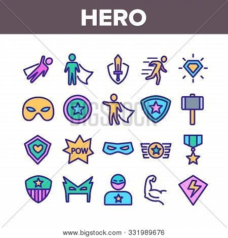 Super Hero Collection Elements Icons Set Vector Thin Line. Hero Superman Silhouette And Captain Amer