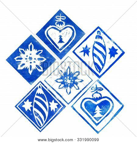 Abstract Composition Of Different Blue Сhristmas Decorations Isolated On White Background. Hand Made