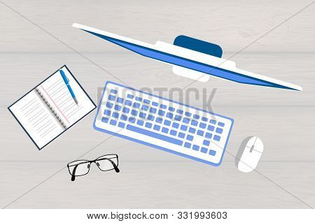 Flat Design Modern Vector Illustration Concept Of Creative Office Workspace, Workplace. Top View Of