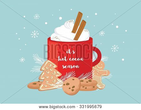 Christmas Greeting Card, Winter Invitation With Red Cup Of Hot Drink. Cocoa Or Coffee Decorated With
