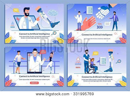 New Ai Technologies For Disabled People Banner Flat Set. Cartoon Male And Female Characters With Bio