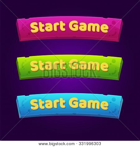 Set Of 3 Start Game Buttons For Arcade Video Games.
