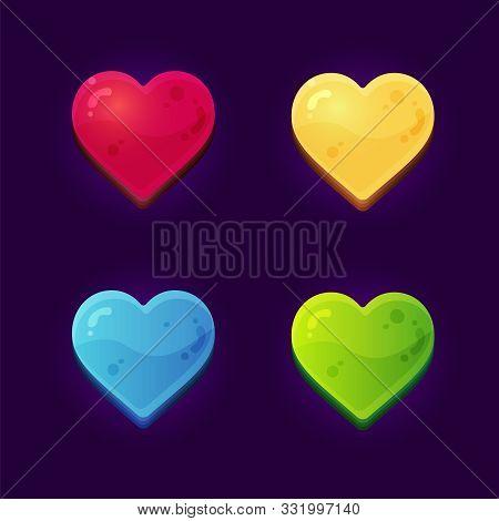 Heart Symbol For Arcade Mobile Games On Dark Background.