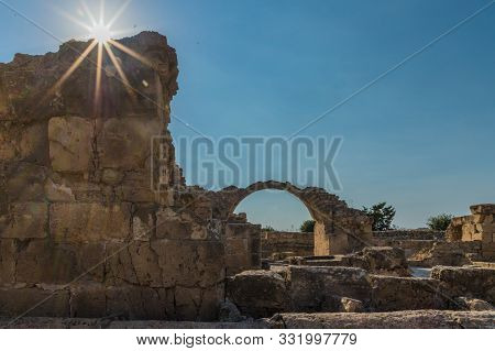 Paphos Cyprus. September 4 2019. A View Of Saranta Colones In Paphos Archeological Park In Paphos In