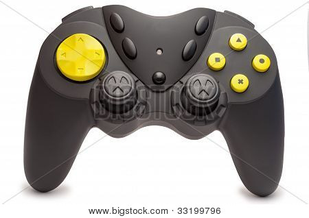 Black Game Controller With Yellow Buttons.