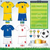 Soccer Vector Collection. Swedish, Ukrainian, French, English Uniform. poster
