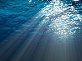 An underwater scene with sun rays shining through the water poster