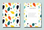 Trendy cover with graphic elements - abstract drop shapes. Two modern vector flyers in avant-garde  style. Geometric wallpaper for business brochure, cover design. poster