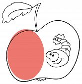 Vector apple with worm on a white background poster