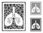 Lungs fluorography mosaic of joggly parts in various sizes and color tinges, based on lungs fluorography icon. Vector joggly parts are composed into mosaic. poster