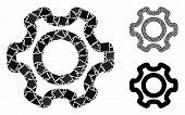 Cog composition of joggly items in various sizes and color tints, based on cog icon. Vector joggly items are combined into composition. Cog icons collage with dotted pattern. poster