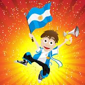 Vector - Argentina Sport Fan with Flag and Horn poster