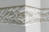 Detail of Modernist decoration on building wall. Spanish Modernism architecture background poster