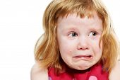 Scared crying little girl with tears on her cheeks poster