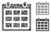 Calendar composition of joggly items in various sizes and color tints, based on calendar icon. Vector trembly items are composed into composition. Calendar icons collage with dotted pattern. poster