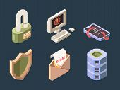 Cyber security. Online ddos hacker attack spam bot viruses phishing network digital data protection vector isometric. Phishing and protection again virus and spam illustration poster