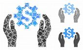 Financial options care hands mosaic of joggly items in variable sizes and shades, based on financial options care hands icon. Vector joggly items are grouped into composition. poster