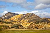 Beautiful and colorful mountain landscape in Landmannalaugar, Iceland. Travel and scenic places to hike. poster
