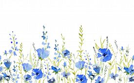 Seamless Border With Rustic Gentle Blue Flowers. Botanical Background Design For Textile, Wallpaper,