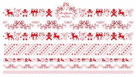 Christmas Ornaments. Winter Holiday Repeating Border, Seamless Pattern. Christmas Greeting Ornament