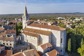 An Aerial View Of Bale - Valle, Istria, Croatia, Church Of Visitation Blessed Virgin Mary To St. Eli