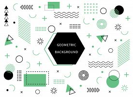 Memphis Geometric Background With Abstract Element Shapes. Graphic Minimal Texture For Holiday Poste