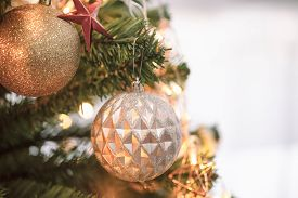 Holiday Christmas Wallpaper With Xmas Ball. Christmas Card Background With Christmas Tree And Festiv