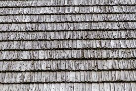 Closeup.  Background. Dark Wood Texture. Traditional Rustic Wooden Roof From Poland