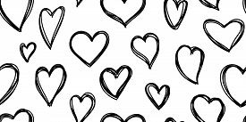 Heart Seamless Pattern. Love Cute Valentines Day Background. Hand Drawn, Doodle Heart Repeat Ornamen